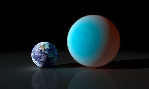 This artist's concept contrasts our familiar Earth with the exceptionally strange planet known as 55 Cancri e. While it is only about twice the size of the Earth, NASA's Spitzer Space Telescope has gathered surprising new details about this supersized a